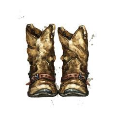 Foto op Plexiglas Waterverf Illustraties Pair of Cowboy Boots. Watercolor Illustration.