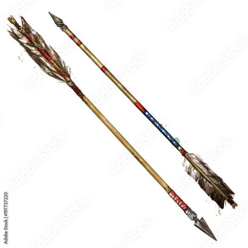 Indian Arrows  Watercolor Illustration