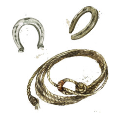 Lasso Rope and Horseshoe. Watercolor Illustration.
