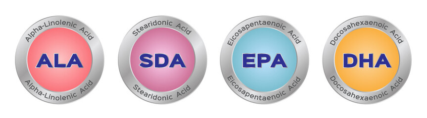 ala sda epa and dha vector icon