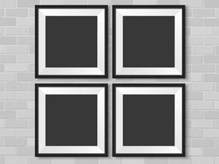 Frames photo gallery mock up brick wall vector black