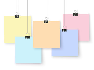 Posters binder clips colorful square mockup