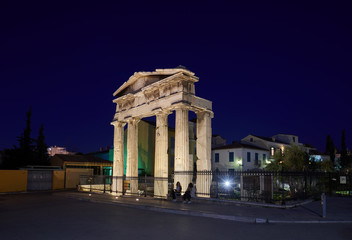 The gate of Athena Archegetis in the Roman Market in Athens Greece.This entrance to the Agora is composed of four Doric columns and was built using Pendelic marble