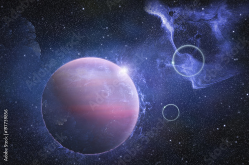 Deep Outer Space Scene With Nebula And Beautiful Planet