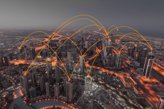 Development of internet web networks across the modern town
