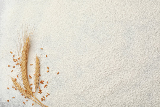 Spikelets and grains on wheat flour