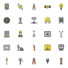 Electrician filled outline icons set, line vector symbol collection, linear colorful pictogram pack. Signs, logo illustration, Set includes icons as electrical panel, electric plugs, wire cutters