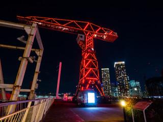 Illuminated crane at Toyosu, Tokyo, Japan