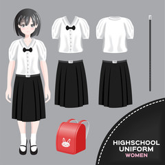 asian women university and high school uniform set / Thai