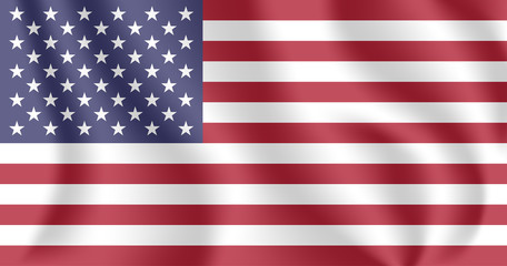 Flag of United States (US). Realistic waving flag of United States of America (USA). Fabric textured flowing flag of America.