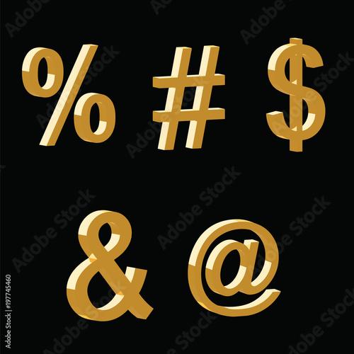 3d Symbols Vector Set Percentage Hashtag Dollar The Word And