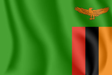 Flag of Zambia. Realistic waving flag of Republic of Zambia. Fabric textured flowing flag of Zambia.