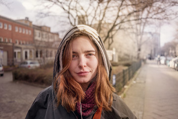 portrait of a young woman outdoors in Berlin