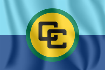 Flag of the Caribbean Community. Realistic waving flag of Caribbean Community (CARICOM). 3d shaded flag texture.