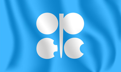 Flag of the Organization of the Petroleum Exporting Countries. Realistic waving flag of OPEC (OPEP). 3d shaded blue flag texture.