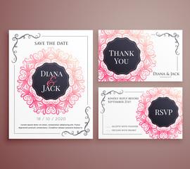 wedding invitation card template design set