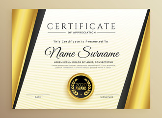 premium certificate template design with golden shapes