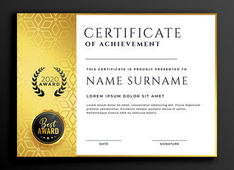 certificate template design with luxury golden pattern
