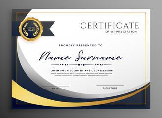 premium wavy certificate template design
