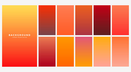 bright orange autumn color gradients set