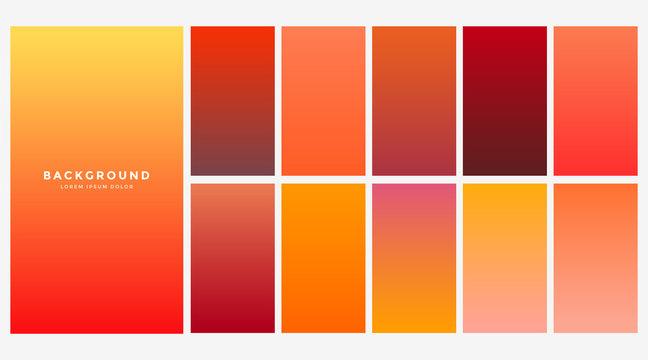 bright orange autumn color gradients set