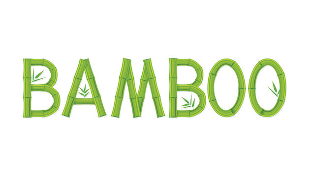 Vector illustration of bamboo text design on white background.