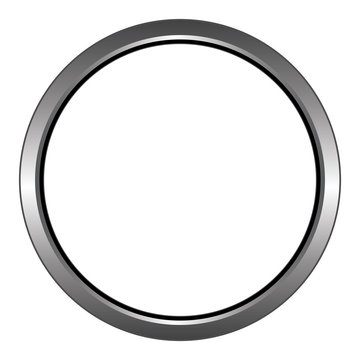 Metal/steel ring/circular icon. Isolated on white