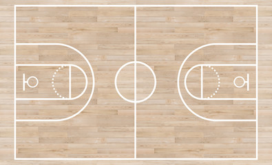 Top view, Basketball court and layout line on wooden texture background