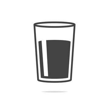 Glass of water icon vector transparent