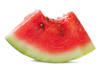 bitten slice of watermelon isolated on white background