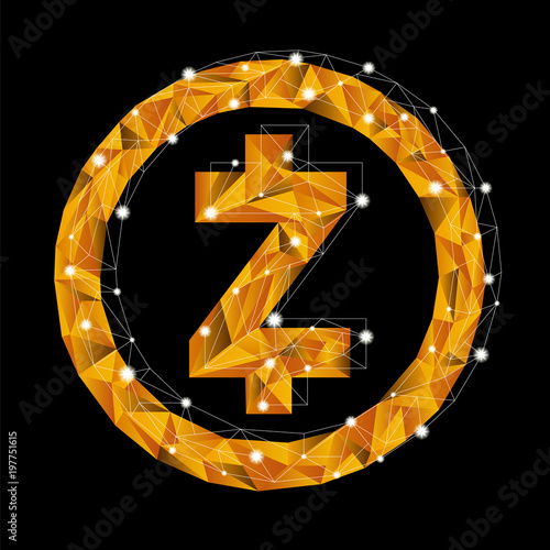 A Symbol Of Currency In The Style Of Low Poly Vector Golden Shiny