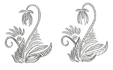 Contour illustration decorative Flower with line elements