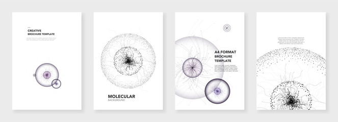 Minimal brochure templates. Molecule models on white. Technology sci-fi or medical concept, abstract vector design. Templates for flyer, leaflet, brochure, report, presentation, advertising