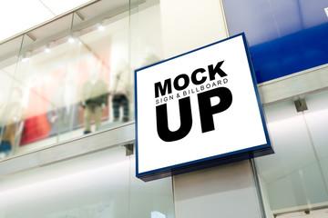 Mock up square shape signboard