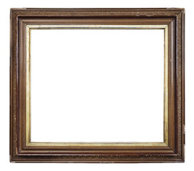 Old vintage brown and golden frame on a white background, isolated