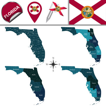 Map of Florida with Regions