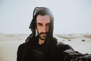 Man exploring the desert