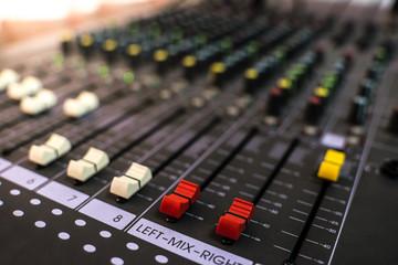 Closeup audio sound mixer, analog electronics equipment