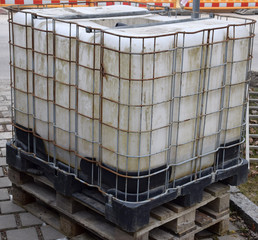rainwater tank on a construction site