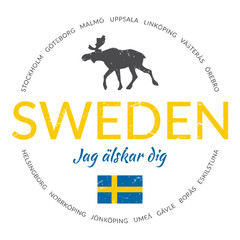 "Sweden grunge button with flag (""Sweden - I love you"")"