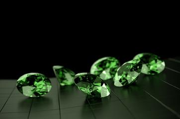 Green Gem Round Diamond Group, 3d illustration.