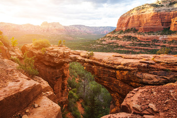 Travel in Devil's Bridge Trail, scenic view panoramic landscape, Sedona, Arizona, USA