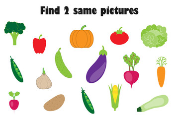 Find two identical pictures, fun education game with vegetables in cartoon style for children, preschool worksheet activity for kids, task for the development of logical thinking, vector illustration