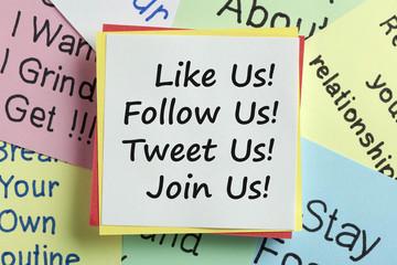 Like us follow us tweet us join us concept of social media marketing