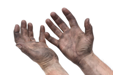 man dirty greasy hands isolated white background