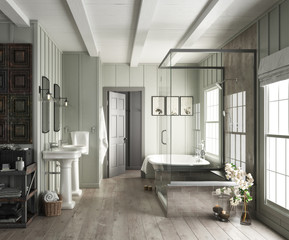 Elegant bathroom interior with rustic accents. 3d rendering