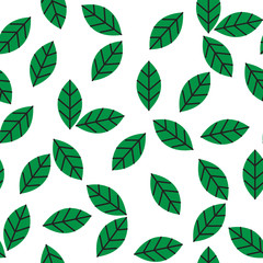 seamless abstract green leaves pattern on white background vector illustration