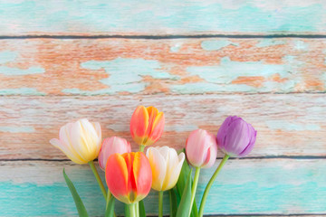 Close up of red tulips on wooden background.