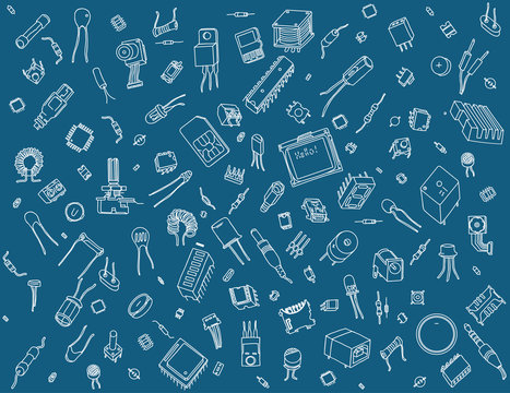Electronic components pattern on blue background
