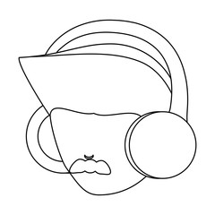 avatar man with mustache and  using a headphones over white background, vector illustration